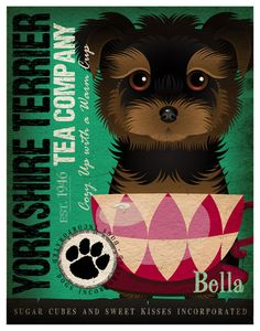 Tea+Cup+Dogs++Yorkshire+Terrier+Poster+11x14++by+DogsIncorporated,+