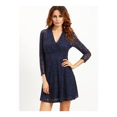 SheIn(sheinside) Navy V Neck Three Quarter Length Sleeve Lace Dress ($41) ❤ liked on Polyvore featuring dresses, navy, navy lace cocktail dress, lace cocktail dress, short sleeve cocktail dresses, 3/4 sleeve dress and 3/4 sleeve cocktail dress
