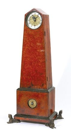 Clock Hourglass Time:  A Rare Weeks Museum Amboyna Egyptianesque Obelisk #Clock.