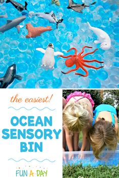 Sensory play doesn't have to be overly complicated. This ocean sensory bin just needs 2 materials, and it's good for hours of fun! My preschoolers love it every year during our ocean theme! Summer Preschool Activities, Early Learning Activities, Ocean Activities, Sensory Activities Toddlers, Preschool Lesson Plans, Preschool Themes, Sensory Bins, Sensory Play, Infant Activities