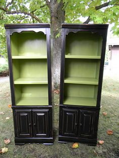 repurposed bookcases.  Love the two tones.