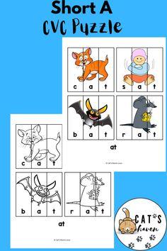 Cvc Word Families, Short Vowels, Cvc Words, Letter Sounds, Cover Pages, Preschool Activities, Puzzles, Worksheets, Homeschool