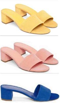 Single Strap Suede Sandals - (Yellow, Pink or Blue) - Mansur Gavriel