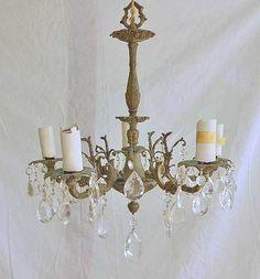 Antique Cast Brass Faceted Crystal Drops Chandelier Hollywood Regency Baroque
