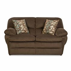 """Simmons® Malibu Beluga Loveseat at Big Lots.  With thickly padded box-style seat cushions and flat French seams, this loveseat is a beautiful and functional addition to any home.  Hardwoods used for a solid frame construction Reinforced construction both horizontally and vertically at points of stress for additional strength Foam seating with fiber pillow top designed to provide a more comfortable, longer lasting seat 100% Polyester  67""""L × 37""""D × 38""""H SKU: 810147628"""