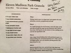 Eleven Madison Park Granola