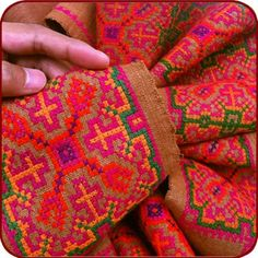 #retro #brown #old #hemp #homespun #orientaltribe #embroidered #hmong #antique #pink #textile #fabric