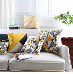 Yellow Geometric Northern Europe Decorative Linen Cushion Cover Grey Grid Printed Sofa Throw Pillow Car Chair Home Pillow Case(China) Sofa Pillow Covers, Sofa Throw Pillows, Cushions On Sofa, Burlap Pillows, Geometric Cushions, Geometric Pillow, Decorative Pillow Cases, Decorative Cushions, Wholesale Linens