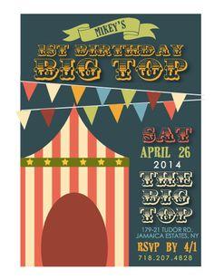 Custom Printable Circus Themed Birthday Invitation