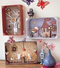 cute landscapes with wooden crates