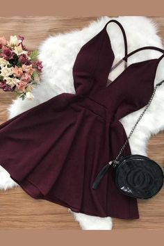Hot Sexy Homecoming Dresses, Short Homecoming Dresses, Open Back Homecoming Dresses, V-neck Homecoming Dresses - Party Dresses and Party Outfits Sexy Homecoming Dresses, Hoco Dresses, Pretty Dresses, Dress Outfits, Casual Dresses, Evening Dresses, Dress Ootd, Skater Dresses, Night Outfits