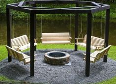 swinging seats and yard landscaping ideas