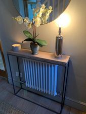 Vintage industrial console table- Vintage Industrie Konsole Tisch These beautiful, hand-crafted consoles are made of … - Industrial Console Tables, Narrow Console Table, Vintage Industrial Furniture, Rustic Industrial, Industrial Living, Industrial Design, Bar Vintage, Decor Vintage, Decoration Hall