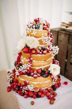 Naked Cake Layer Sponge Fruit Flower / http://www.deerpearlflowers.com/rustic-berry-wedding-cakes/