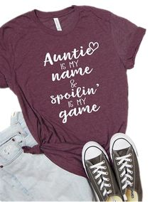 Aunt shirt auntie squad shirt bae best aunt ever letters printed women o-neck casual cotton funny t-shirt wish. Cute Tshirts, Funny Shirts, Beste Tante, Aunt Baby Clothes, New Aunt, Tumble N Dry, Aunt T Shirts, Squad, Aunt Gifts