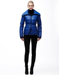 Danier soft quilted leather jacket for cold wintry days. #blue #winter #jacket