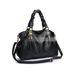 fbe58d199747 Brilliant Tassel Pleated One-shoulder Black Women's Bag (700 ARS) ❤ liked on