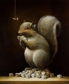 'The Investor' by Kevin Sloan. Find out more about Kevin and see more of his stunning art at wowxwow.com (painting, allegory, allegorical, poetic, animals, birds, nature, wildlife, surreal, surrealism, human condition, symbolism)