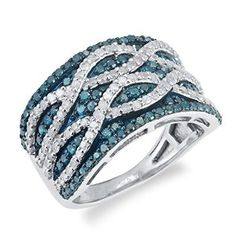 Sterling Silver 1 1/2ct TDW Blue and White Diamond Multi Row Ring (H-I, I2-I3) available at joyfulcrown.com