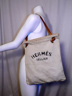 A classic ---> Authentic #vintage #1970s feed bag #HERMES Sellier canvas purse