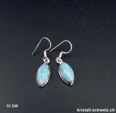 Ohrhänger Larimar Cabochons aus 925 Silber. Unikat Cabochons, Drop Earrings, Jewelry, Fashion, Minerals, Crystals, Silver, Schmuck, Moda