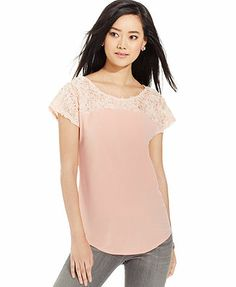 NY Collection Floral-Ruffled Short-Sleeve Top