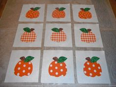 Set of 9 Applique 6 x 6 Quilt Blocks  ... Bright by MarsyesShoppe