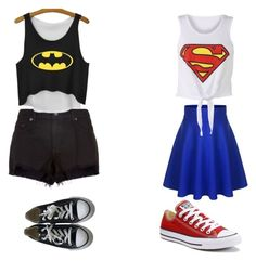 """Batman vs. superman BFF outfit"" by bellerz04 on Polyvore featuring rag & bone and Converse"