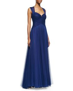 Monique Lhuillier Sleeveless Draped Sweetheart-Neck Gown, Royal Blue