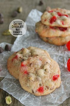 Cherry Chocolate Nut Cookies Recipe ~ Perfect for Christmastime and beyond, these soft cookies are packed with chocolate, cherries, and crunchy pistachios.
