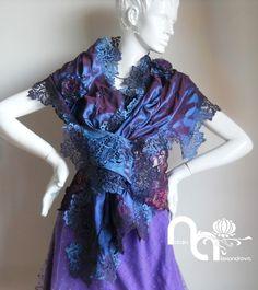 "Scarf ""purple lace"" from manually perforated fabric. Designed and handmade by Natalia Alexandrova. www.fb.com/nataliaalexandrova.rsa"