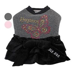 Butterfly+Pattern+Velvet+Dress+with+Bowknot+for+Dogs+(XS-XL,+Assorted+Colors)+-+USD+$+15.29