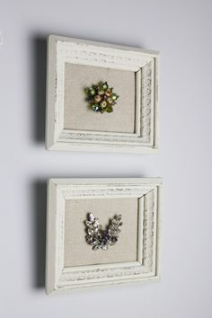 30 Repurposed Vintage Picture Frames. A great way to display my Grandmother's pins.