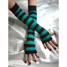 Striped Arm Warmers Sirène Teal Blue black gothic by Mellode Casual Cosplay, Cosplay Outfits, Striped Gloves, Blue Gloves, Scene Outfits, Cool Outfits, Cute Fashion, Fashion Outfits, Estilo Rock