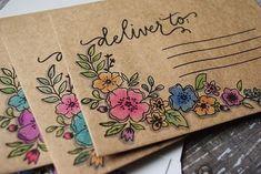 Mail Art Envelopes, Cute Envelopes, Decorated Envelopes, Addressing Envelopes, Handmade Envelopes, Diy Envelope, Envelope Design, Envelopes Decorados, Snail Mail Pen Pals