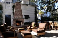 traditional brick outdoor fireplace