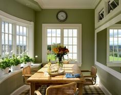 #SageGreen - Sage greens are #MutedGreens with #grey undertones. They are soft and subdued and can be either warm or cool  #SageGreenPaint #MutedGreenPaint #GreenPaint #Décor #DiningRoom #PaintIdeas #Ireland