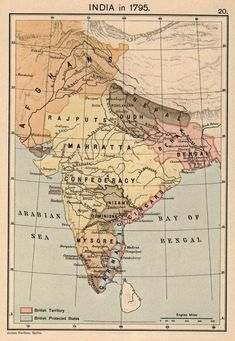 Maratha Empire in 1794 (yellow) Justus Perthes, Gotha.] A Historical Atla India World Map, India Map, India India, India Travel, History Page, History Timeline, History Memes, History Facts, Vintage Maps