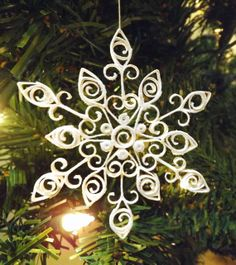 Handmade Quilled White Snowflake Christmas Ornament -- Stunning addition to your Christmas tree, get them before they are all gone!
