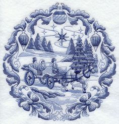 Delft Blue Christmas Carriage design (G7703) from www.Emblibrary.com