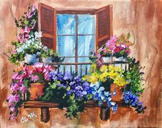 Flowers in the Window on a Balcony Beginner Acrylic Painting Tutorial by Ginger . Flowers in the Window on a Balcony Beginner Acrylic Painting Tutorial by Ginger …- Flowers in the Acrylic Painting Flowers, Simple Acrylic Paintings, Acrylic Painting Techniques, Acrylic Painting Canvas, Canvas Art, Garden Painting, Learn To Paint, Painting Inspiration, Flower Art
