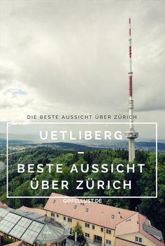 Beste Aussicht vom Ütliberg, Zürich, Schweiz. Blick über den Züricher See und die ganze Umgebung. Aussichtsplattform, Fernsehturm und Cafe.