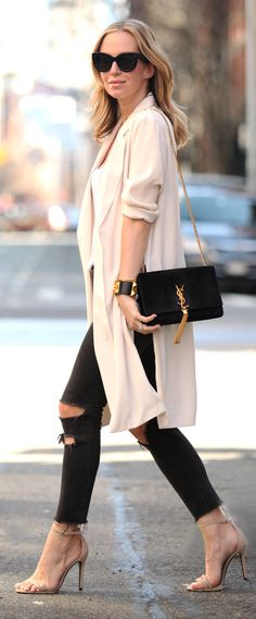 Nude Duster Outfit Idea by Brooklyn Blonde