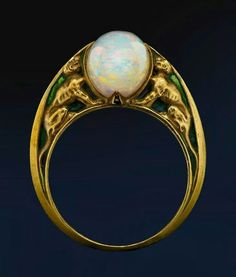 Rene Lalique opal and gold ring