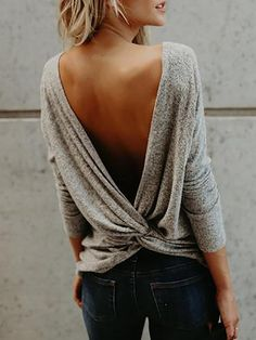 Twisted Open Back Casual Blouse