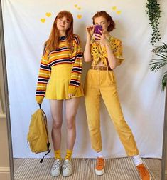 56 teenager outfits that will make you say wow 3 Mode Outfits, Retro Outfits, Vintage Outfits, Yellow Outfits, Yellow Clothes, Vintage Inspired Dresses, Grunge Outfits, Vintage Inspired Fashion, 80s Fashion