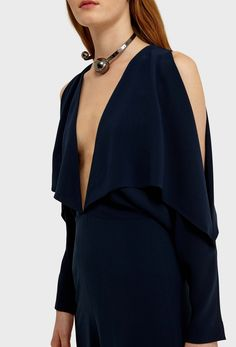 d4271cb66d AQ AQ Larissa Deep Plunge Jumpsuit with Wide Legs and Exposed Shoulders ·  Dark Blue