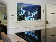 Beautiful in wall mounted salt water aquarium. Photo from www.articlesweb.org #Aquarium #Tank #Fish    MUST HAVE an aquarium wall one day.