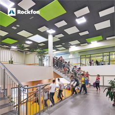 This complex is one of the most modern educational facilities in Poland. The complex houses a primary school, kindergarten, nursery and dayroom. The building has been designed with particular attention to the comfort of children. The architect has masterfully combined the aesthetics with functionality, using Rockfon sound-absorbing solutions.  Click and discover more about this exciting project  #school #design #rockfon #acoustics #designforeducation #designforschool Acoustic Design, Sound Absorbing, Learning Environments, Ceiling Design, Primary School, School Design, Poland, Kindergarten, Aesthetics