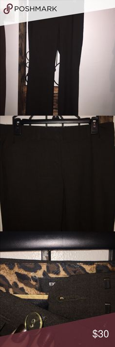 Brown trousers Express brand Editor style slacks! These are a great pant for work! In mint condition! Chocolate brown with animal print inside of waist band! Express Pants Trousers